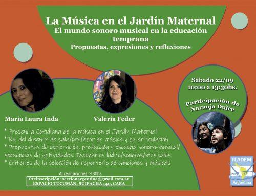 Taller: La Música en el Jardín Maternal. Sábado 22 de Septiembre – 10hs
