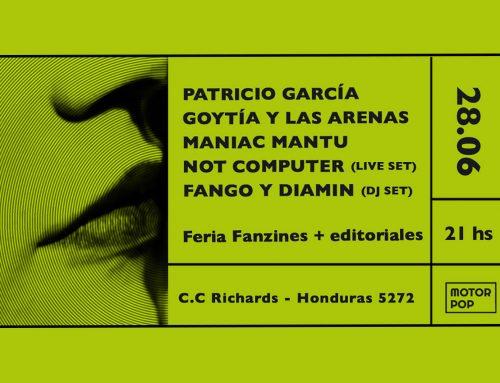 Motor Pop en C.C. Richards: Patricio García + Goytía y las arenas + Maniac Mantu. Viernes 28 de Junio – 21hs