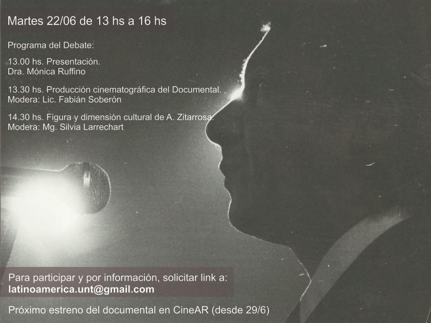 """Conversatorio: Documental """"Ausencia de Mí. Obra y Exilio de Alfredo Zitarrosa""""/ Martes 22 de Junio – 13hs"""